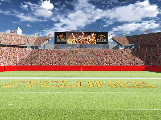 Artist's rendering of the view of south end zone at Jack Trice Stadium after redesign.