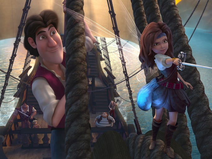 "Tom Hiddleston plays a young Captain Hook, James, alongside Zarina (Christina Hendricks) in a scene from the animated motion picture ""The Pirate Fairy."""