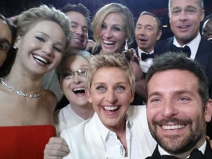 Star Selfie: Ellen DeGereres' quest to get the most retweets during the 2014 Oscars.