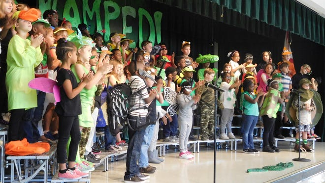 A variety of swamp critters were representated in the play, including a mosquito.