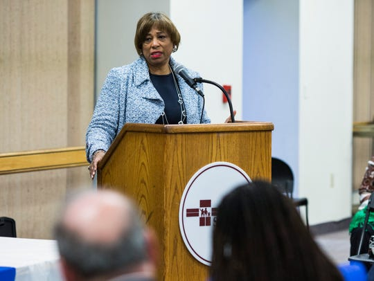 Representative Brenda Lawrence speaks during a town