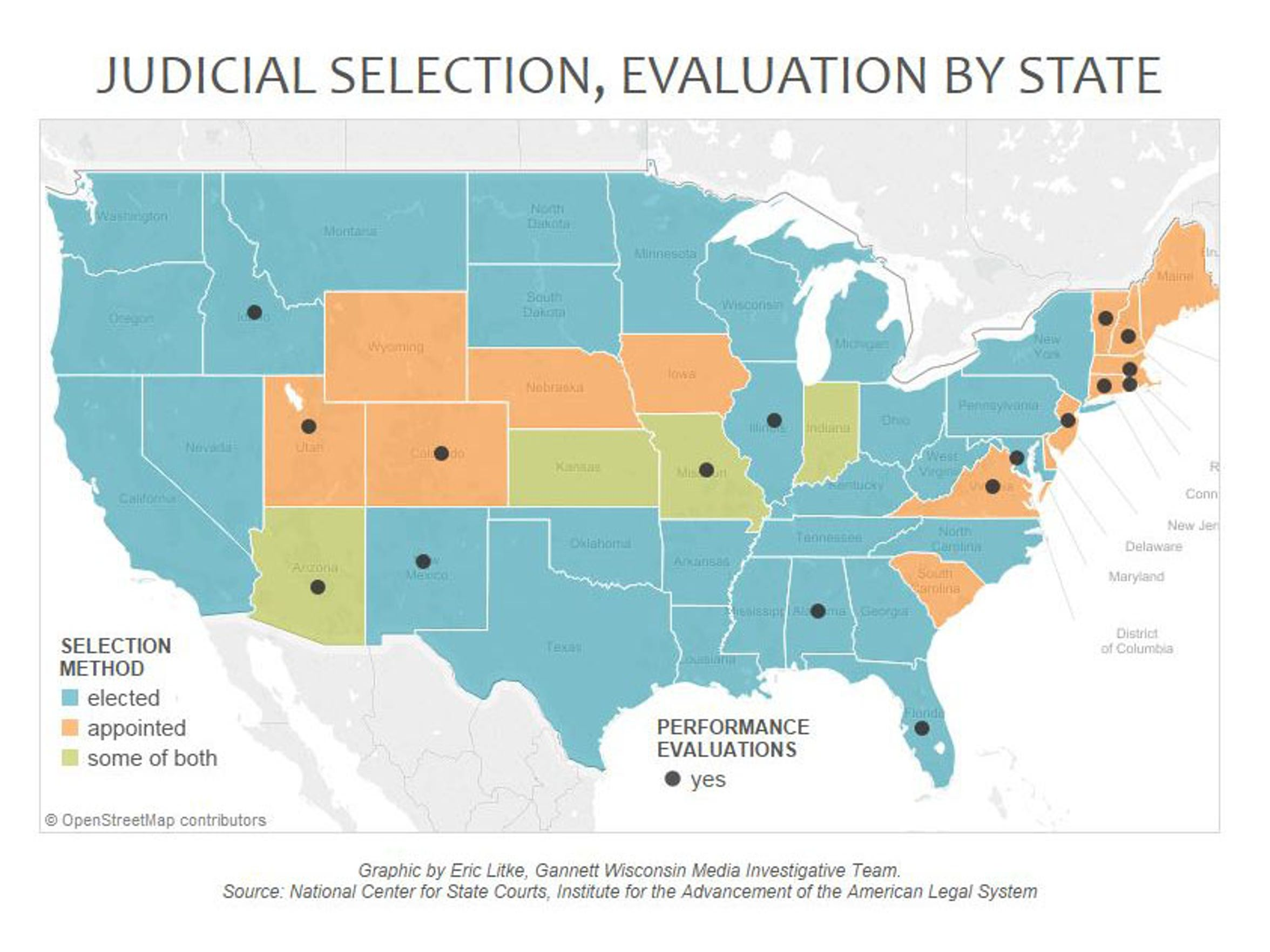 Judicial selection, evaluation by state