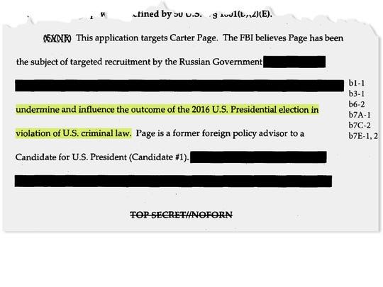"After a redaction, the Times reported that the application to wiretap Page included a partial sentence: ""… undermine and influence the outcome of the 2016 U.S. presidential election in violation of U.S. criminal law."""