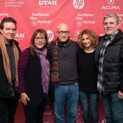 "Author/producer Lawrence Wright,  left, former Scientology church member Spanky Taylor, director Alex Gibney, Sara Bernstein, Senior Vice President of Programming for HBO Documentaries and former Scientology church member Mike Rinder attend the premiere of ""Going Clear: Scientology and the Prison of Belief"" during the 2015 Sundance Film Festival."