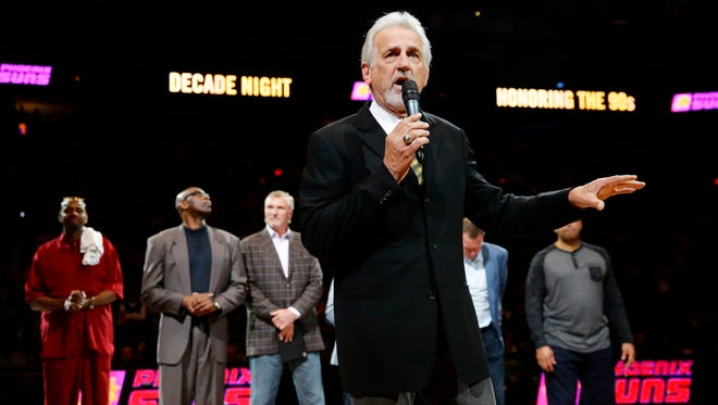 Former Phoenix Suns head coach Paul Westphal addresses. the fans at Decade Night, a celebration of the players from the 1990s during half time on Jan. 12, 2018 at Talking Stick Resort Arena in Phoenix, Ariz.