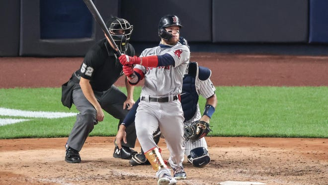 Red Sox outfielder Alex Verdugo singles in the sixth inning of a game on Saturday against the Yankees. Verdugo has been one of the few bright spots for Boston this season.