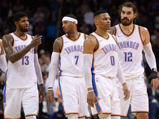Paul George, Carmelo Anthony, Russell Westbrook and