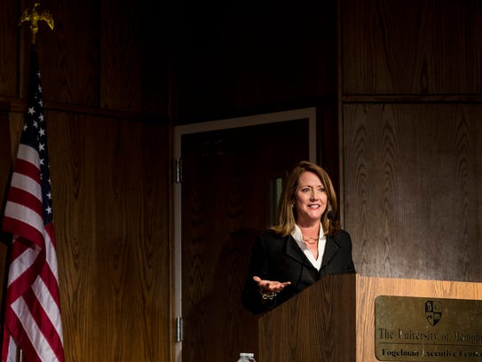 August 17, 2017 - First lady Crissy Haslam speaks during