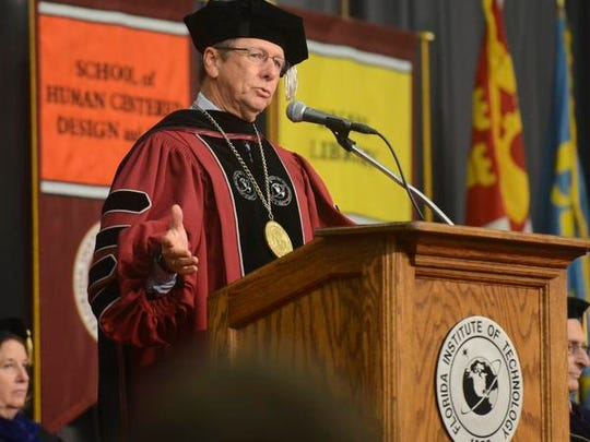 Florida Tech president T. Dwayne McCay addresses students,
