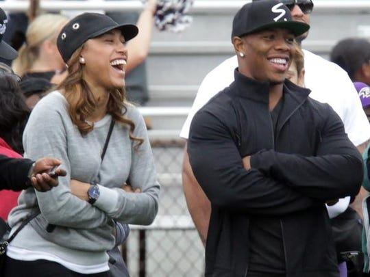 Ray Rice and his wife, Janay, attend a Ramapo-New Rochelle football game at New Rochelle High School on Sept. 13.