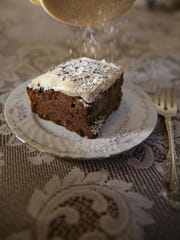 Chocolate lavender brownie served up with powdered