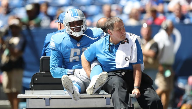 Lions defensive lineman Kerry Hyder Jr. is hurt during the second quarter of the Lions' 24-10 win in the preseason over the Colts on Sunday, Aug. 13, 2017, in Indianapolis.