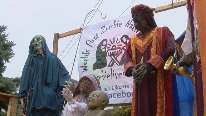 The controversial 'zombie' nativity scene at a Sycamore Township home