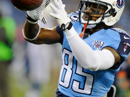 Titans wide receiver Nate Washington (85) before their game against the Colts at LP Field Thursday Nov. 14, 2013, in Nashville, Tenn.