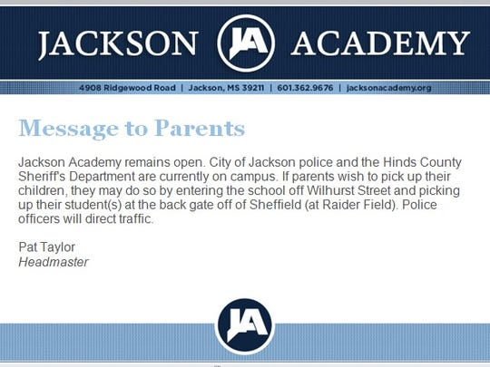 An email from JA Headmaster Pat Taylor to parents after the school was evacuated over a bomb threat.