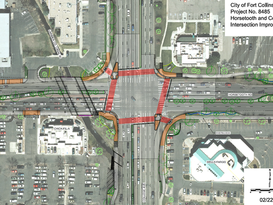 Plans for work at the intersection of Horsetooth and College.