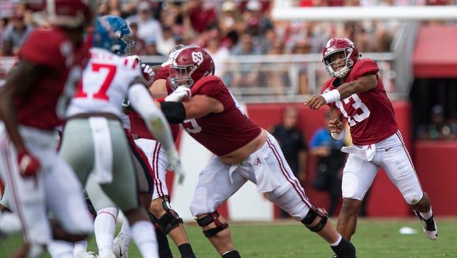 Alabama quarterback Tua Tagovailoa passes against Ole Miss at Bryant-Denny Stadium in Tuscaloosa, Ala.