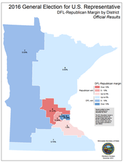 A map comparing 2016 Democratic and Republican votes in Minnesota's congressional districts.
