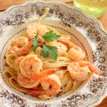 In this recipe, chopped, cooked chicken breasts, crispy hunks of bacon or strips of smoked salmon can be substituted for the shrimp.