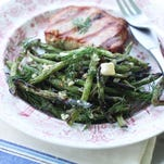 Grilled green beans with honey, feta and dill add a healthy touch to your Fourth of July meal.
