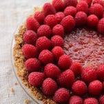 Raspberry rhubarb cream pie with oatmeal crust.