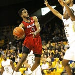 UL's Kasey Shepherd attempts a shot in the lane against Appalachian State during the Cajuns' 87-76 road win.