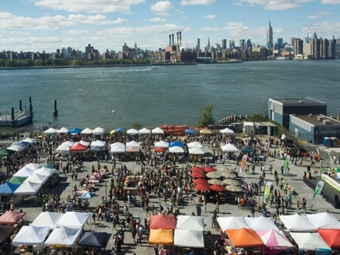 Brooklyn's weekend food market, Smorgasburg, brings 100 vendors together every Saturday and Sunday.