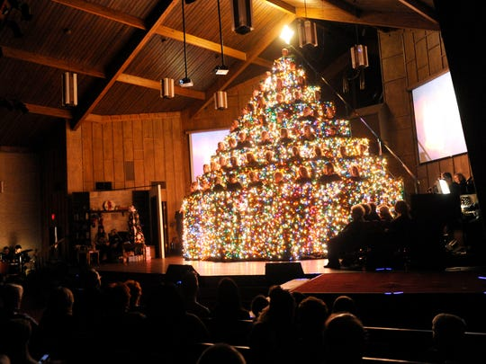 The 34th annual Living Christmas Tree was performed at Wylie Baptist Church Sunday Dec. 11, 2016. It was the final performance of the year which featured a chorus singing from a lit platform shaped to resemble a tree.