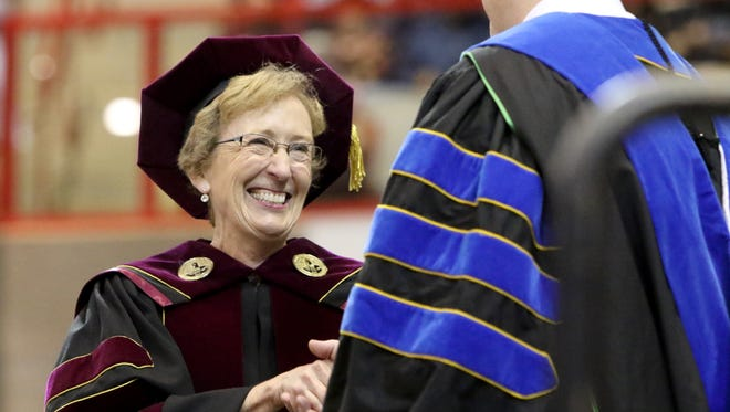 Midwestern State University president Suzanne Shipley spring graduation Saturday, May 12, 2018, at Kay Yeager Coliseum.