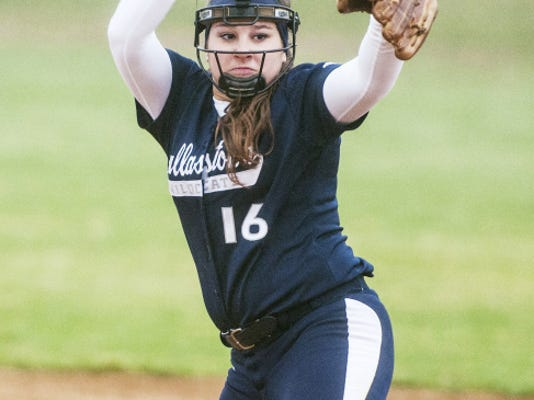 Dallastown pitcher Jaelynn Harbold pitches against West York Wednesday. Harbold tossed a one-hitter and hit a three-run home run to lead Dallastown to a 15-0 win. Harbold struck out seven, losing her no-hit bid on a first-pitch, fifth-inning single.