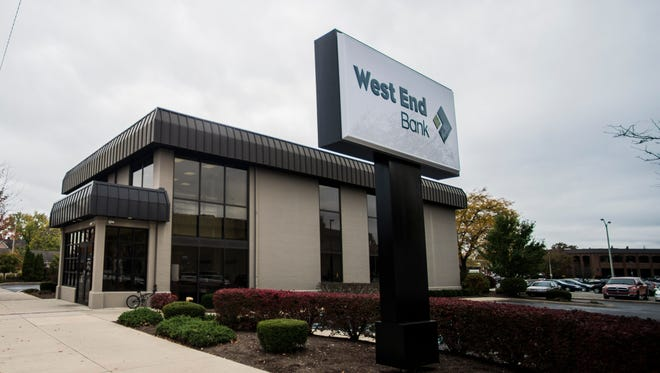 West End Bank's main branch, 34 S. Seventh St., has new signage and branding following a redesign of the organization's logo, as seen Monday, Oct. 31, 2016.