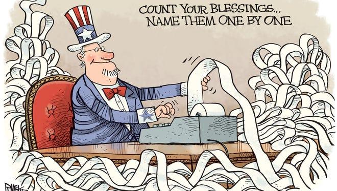 Rick McKee, The Augusta Chronicle, drew this editorial cartoon.