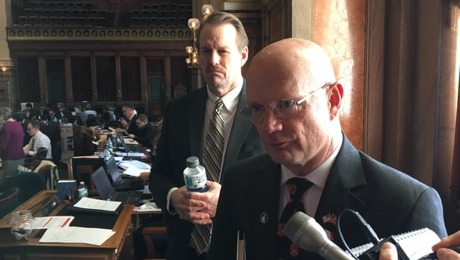 Iowa state Reps. Dave Deyoe, left, and Steve Holt explain the House version of the collective bargaining bill to reporters on Wednesday. Deyoe, R-Nevada, is chairman of the House Labor Committee. Holt, R-Denison, will oversee the bill in committee.