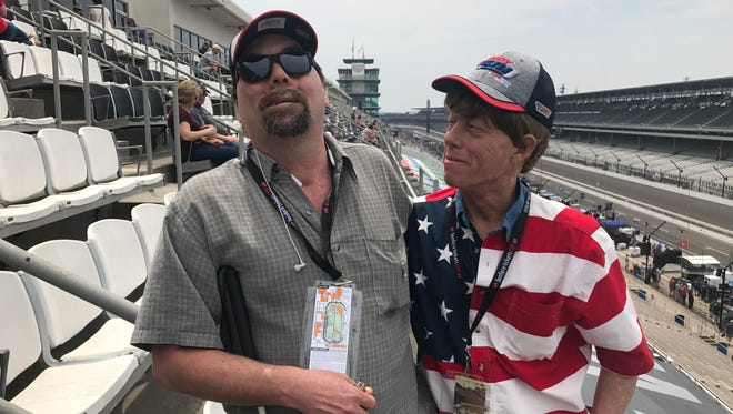 Rod Polston (left) with his cousin, Mike Neice on the Indianapolis 500 straightaway.