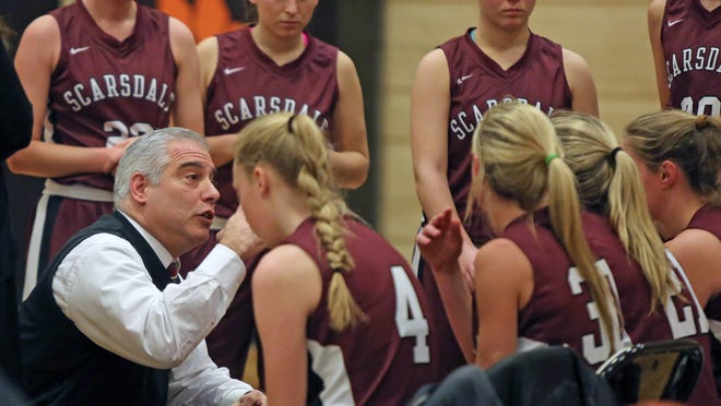 Scarsdale coach Mike Blanco talks to his team during a timeout in a girls basketball game Jan. 14 at White Plains High School. Scarsdale defeated White Plains 49-30.