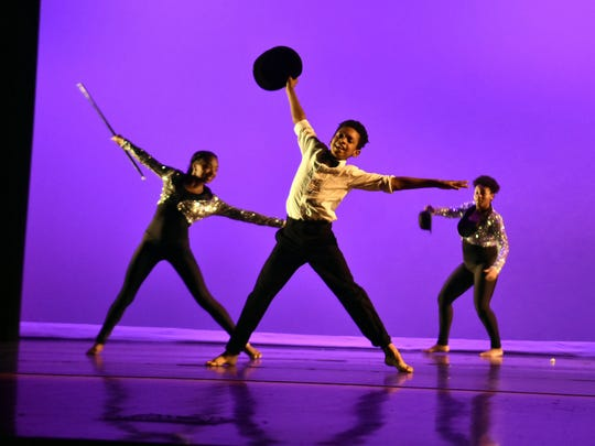 Members of the Austin-East Dance Company (including this Vine Middle School student) perform a jazz routine during the Dance and Arts Showcase that featured students from Beaumont Magnet, Vine Middle Magnet and Austin-East Magnet High School.