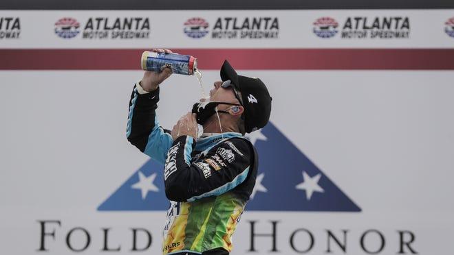 Kevin Harvick celebrates his win at Altanta, his second victory of the season.