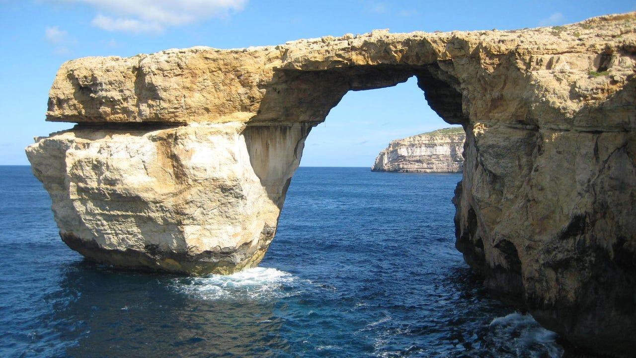 The Azure Window located just off Malta.