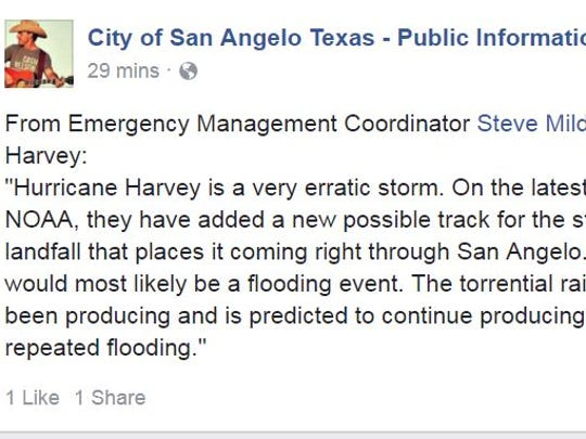 The City of San Angelo shared a recent update from