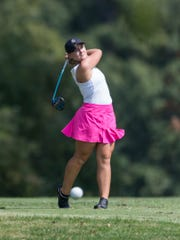 North's Hadley Watts tees off at hole nine during the