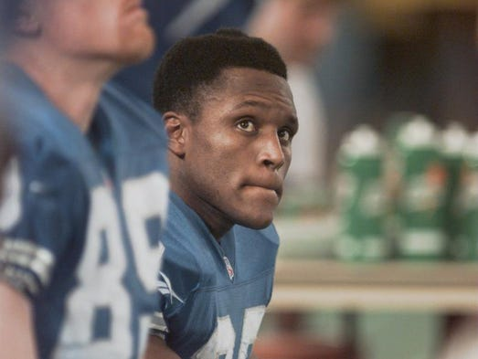 Barry Sanders, Detroit Lions running back, on the bench Sunday, Dec. 21, 1997 at the Pontiac Silverdome.