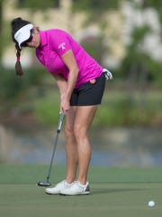 LPGA Gerina Piller watches her balll as she putts at the first hole during the Pro-Am, Wednesday (10/18/15) at the CME Group Tour Championship at the Tiburon Golf Club at the Ritz-Carlton Golf Resort in Naples.