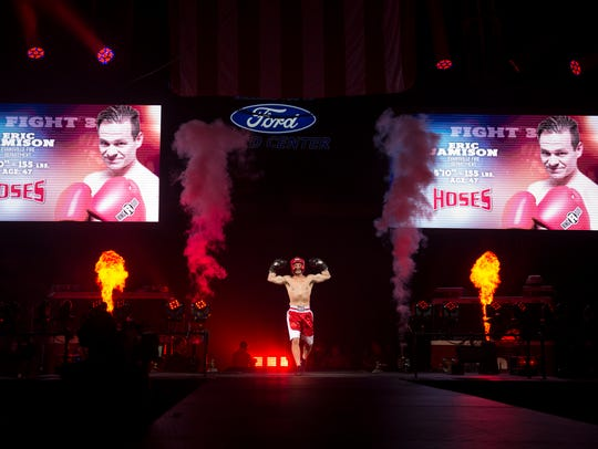 Hoses' Eric Jamison is introduced before his fight