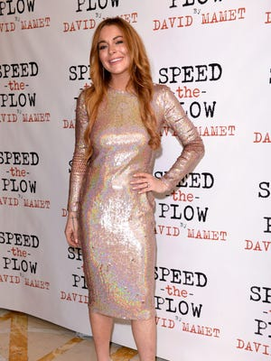 """Lindsay Lohan attends the press night afterparty of """"Speed The Plow"""" at National Liberal Club on Oct. 2, 2014 in London."""