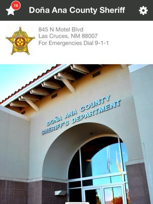 A screenshot from the new Doña Ana County Sheriff smartphone app.