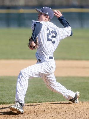 Pingery's Jack Laurent (22) pitches against Bound Brook at Pingry baseball on April 19, 2016. (Keith Muccilli/ Staff photographer)