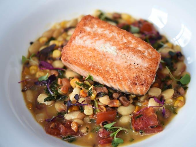 Saffire Restaurant and Bar's pan-roasted salmon on