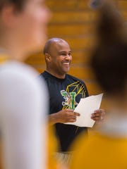 Chris Day, first-year coach of the University of Vermont's womens basketball team, leads his players through practice in Burlington on Wednesday, November 9, 2016.