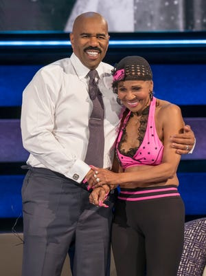 Steve Harvey and Ernestine Shepherd on NBC's 'Little Big Shots: Forever Young.'
