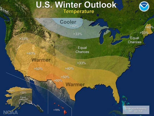 The winter outlook for temperature for December 2016, and January and February 2017